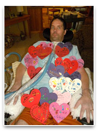 Curt with Valentines from Kids at St. Joes